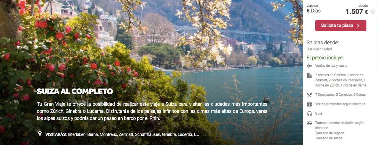 Oferta de viaje barato a Suiza | Tu Gran Viaje